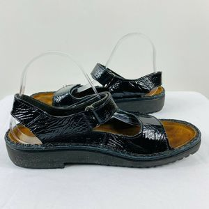 Naot Black Patent Leather Sandals